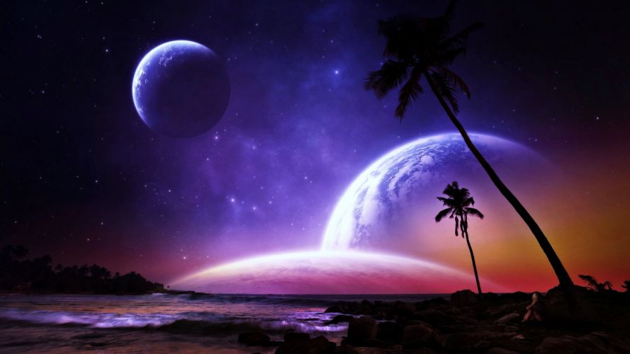 planets palms fantasy dreams colorful beaches space stars galaxy worlds earth wallpaper