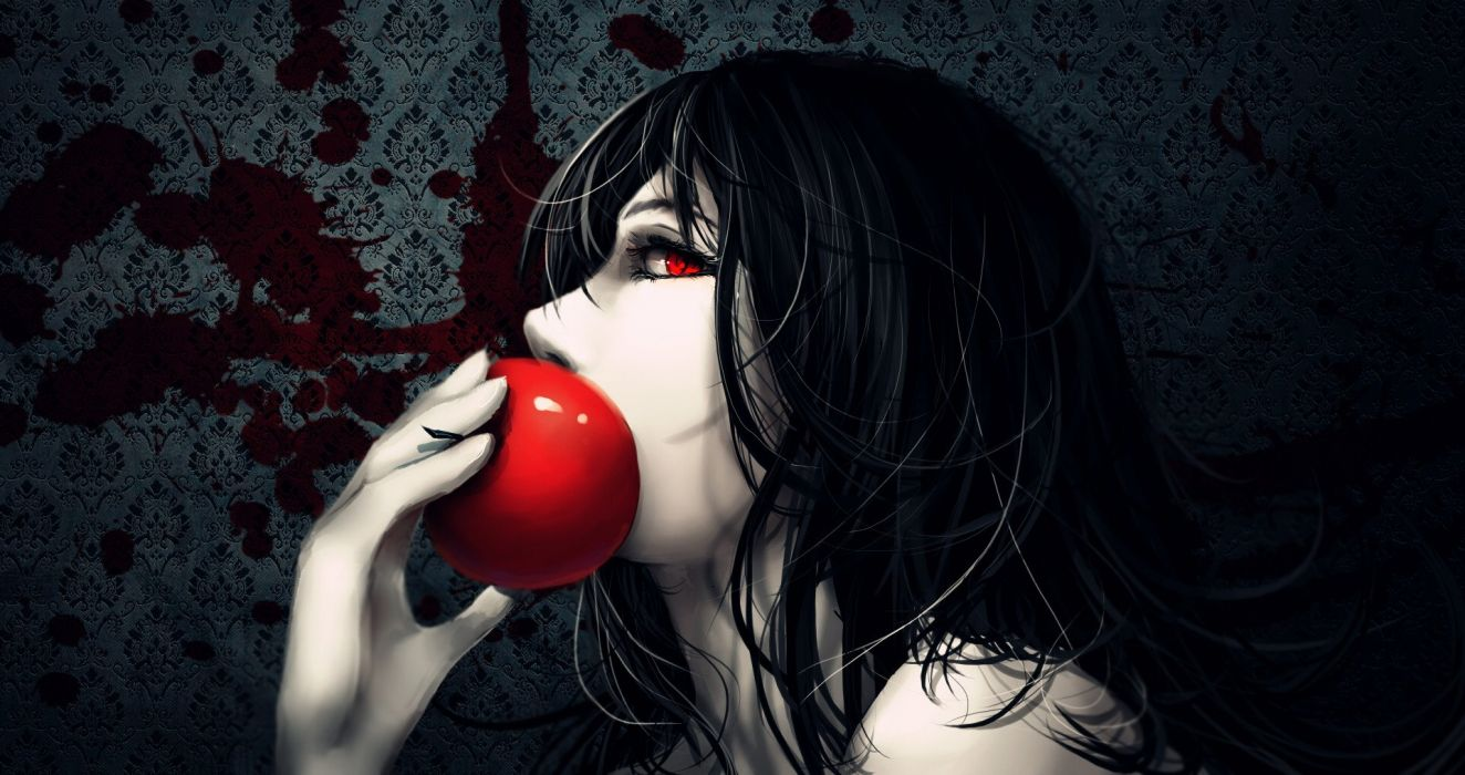 original anime red apple red eyes long black hair girl wallpaper