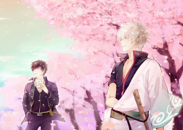 anime series gintama sakura smile sword character katana wallpaper