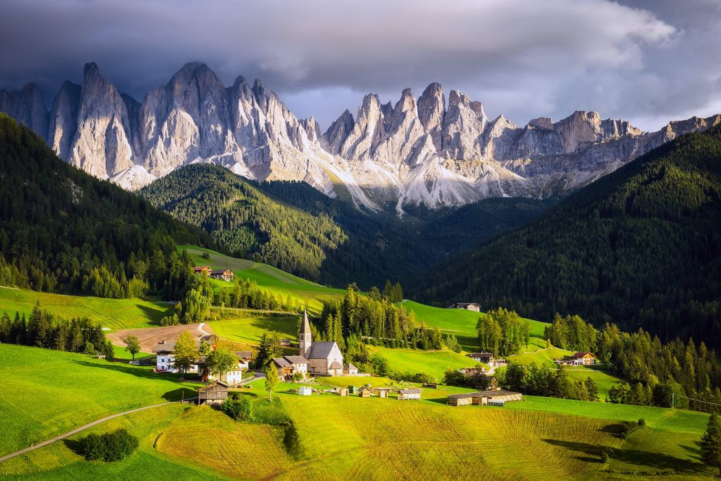 landscapes nature countryside fields houses trees forest jungle mountains clouds italy grass wallpaper