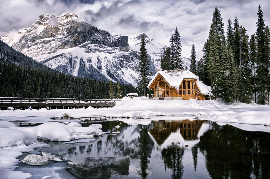 countryside trees forest jungle mountains snow winter lakes cold house bridge icy sky clouds wallpaper