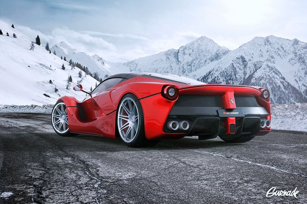 Ferrari LaFerrari HRE Wheels landscape road mountains cars supercars red fart motors speed snow wallpaper