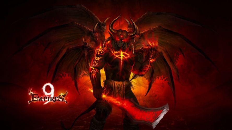 9 EMPIRES fantasy strategy mmo rpg 9empires action adventure fighting magic elf elves poster demon warrior sword wallpaper