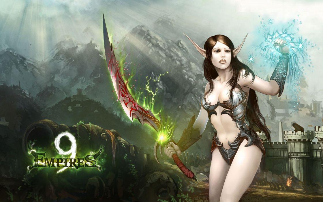 9 EMPIRES fantasy strategy mmo rpg 9empires action adventure fighting magic elf elves warrior girl magic archer wallpaper