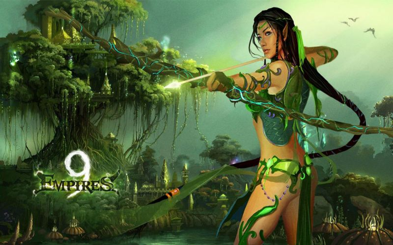 9 EMPIRES fantasy strategy mmo rpg 9empires action adventure fighting magic elf elves warrior girl archer wallpaper