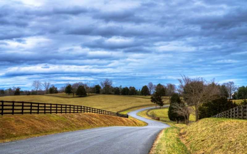 road way path fields landscapes nature countryside town trees grass summer sky clouds wallpaper