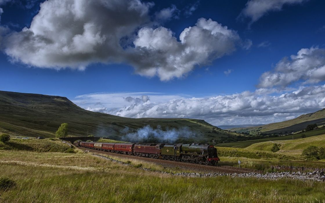 landscapes nature countryside trains motors speed hills filds sky clouds mountains grass wallpaper