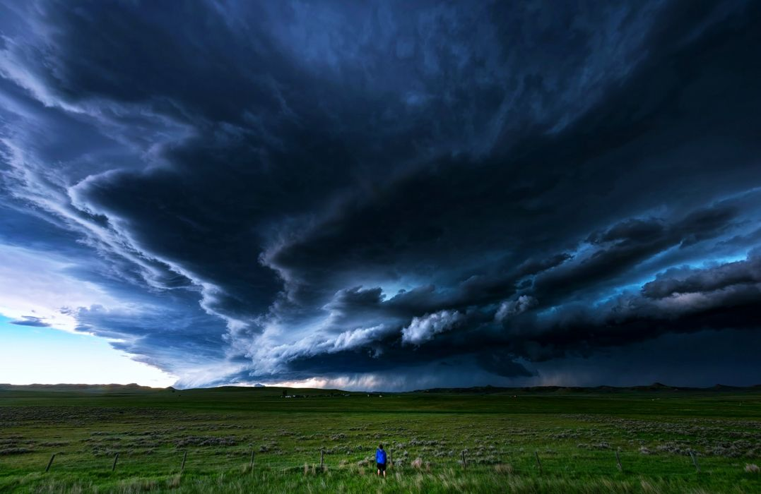 countryside fields clouds storms thunders grass man rain sky landscapes nature wallpaper