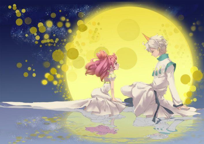 sailor moon anime series pink hair moon love couple dress chibiusa wallpaper