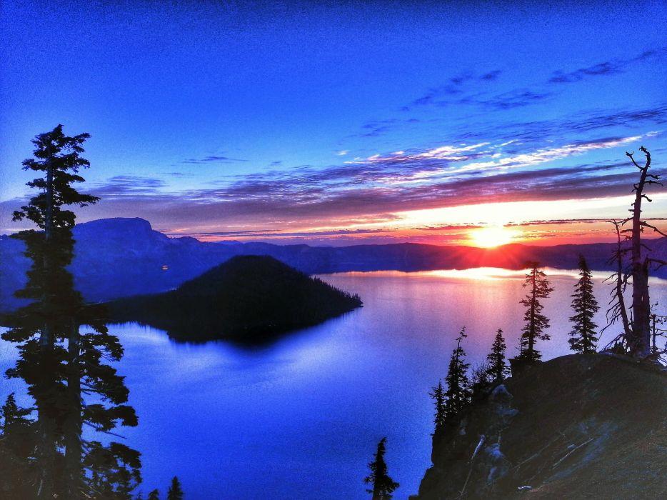 Crater Lake sunset lake landscape reflection volcano wallpaper
