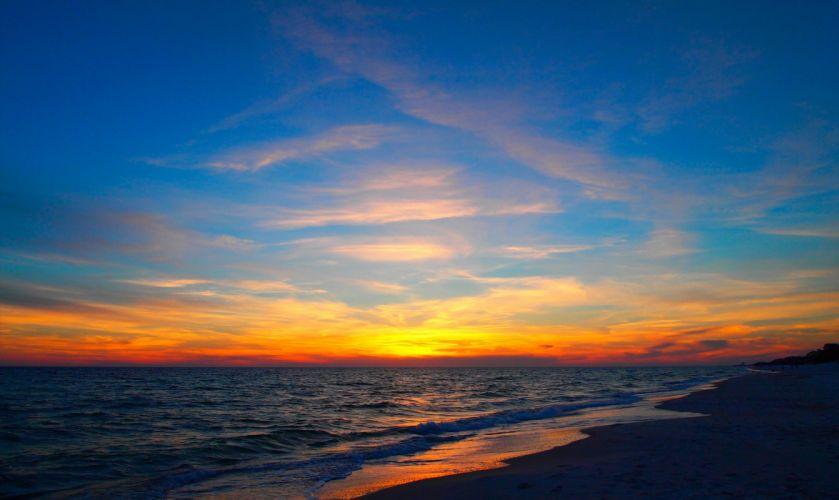 nature clouds sky sunset beach wallpaper