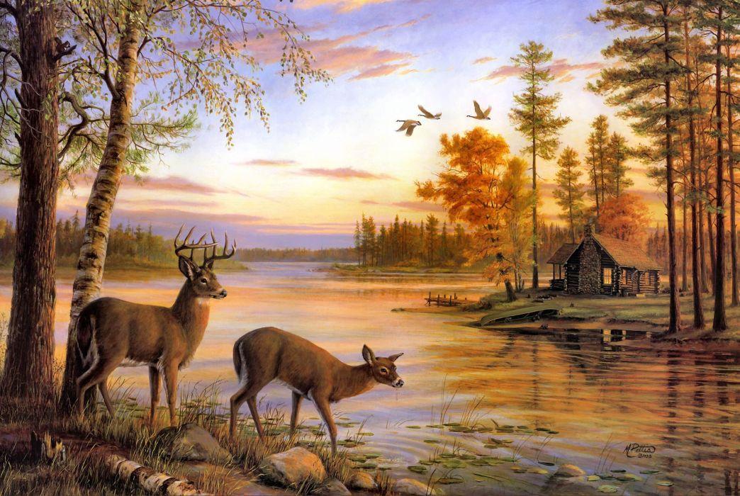 pinturas arte naturalez ciervos wallpaper