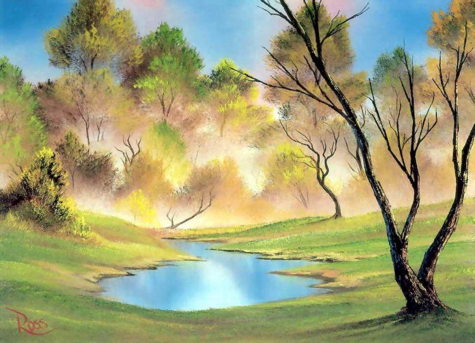 lago naturaleza oleo arte wallpaper