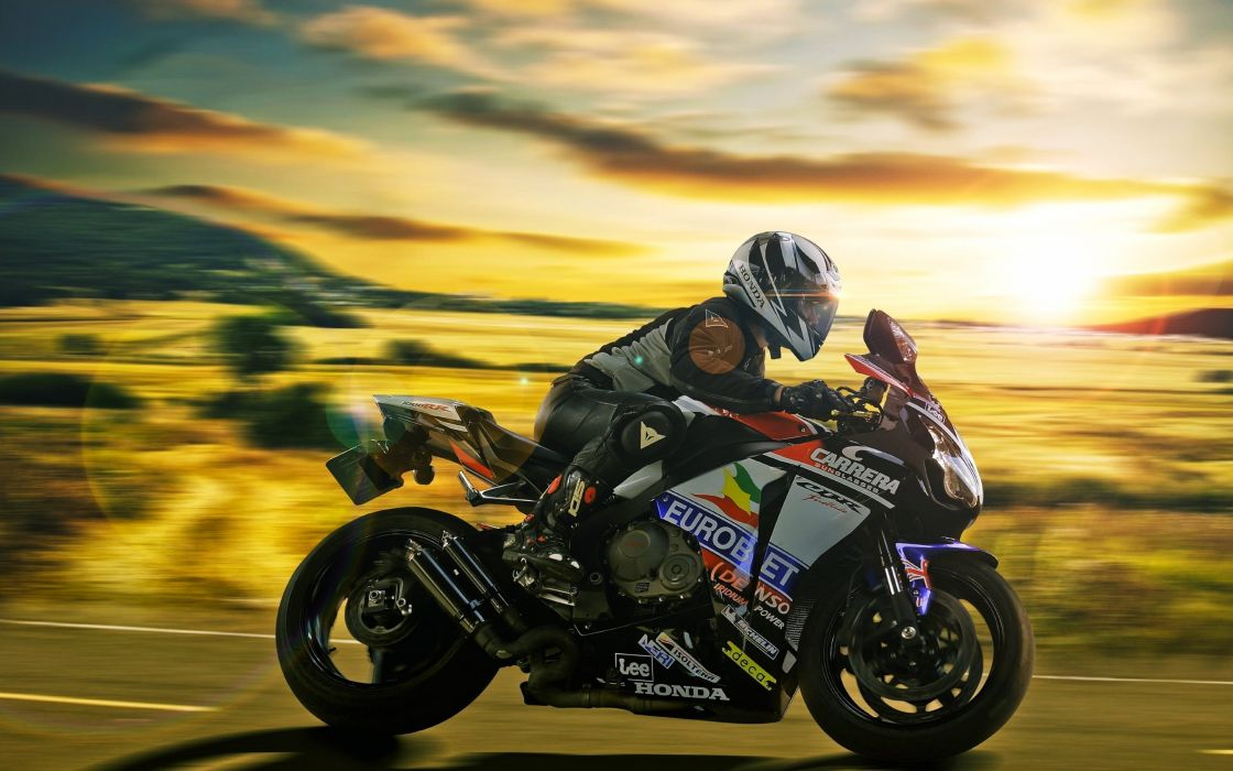 honda cbr race speed motors motorcycles fast road man sunset clouds wallpaper