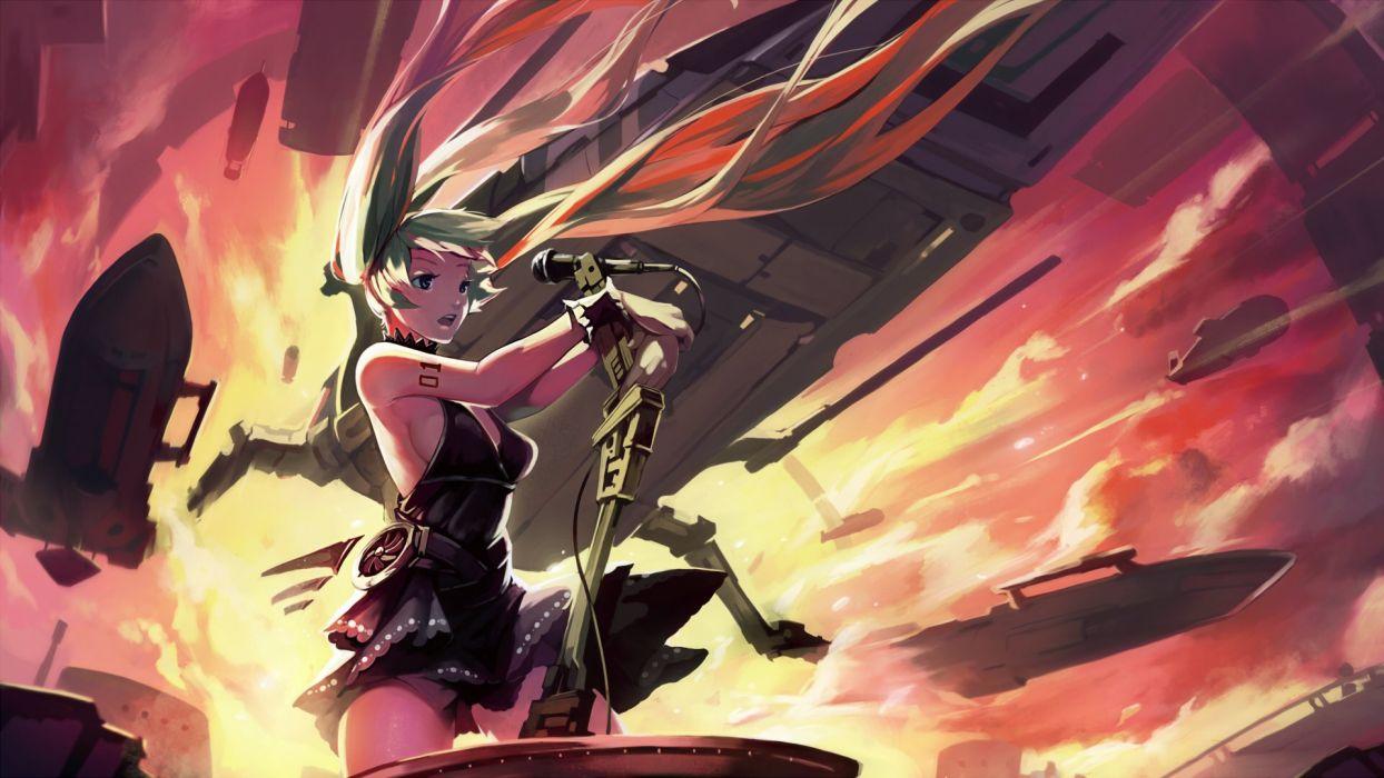 aircraft dress hatsune miku iorlvm long hair microphone sunset tattoo twintails vocaloid wallpaper