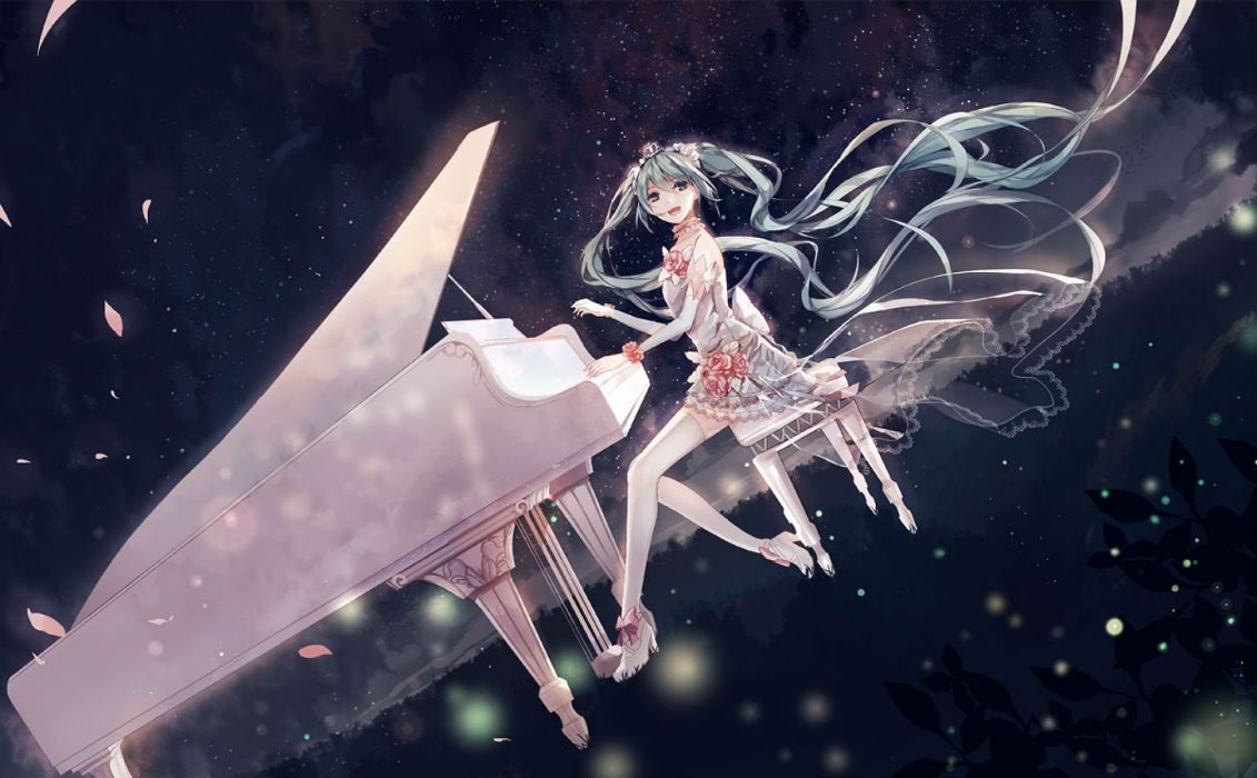 amatsukiryoyu dress hatsune miku instrument long hair night petals piano stars thighhighs twintails vocaloid wallpaper