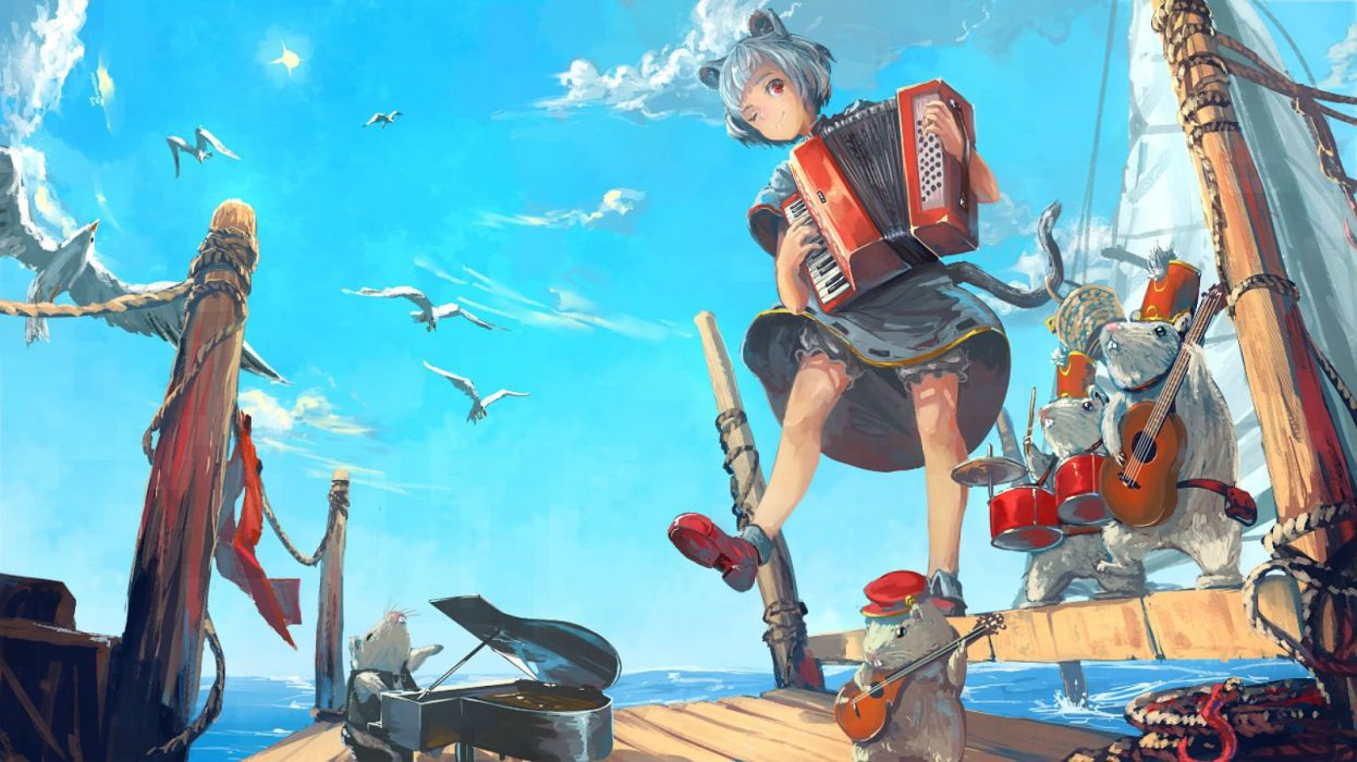 animal animal ears bird blue hair clouds drums instrument kaatoso nazrin piano red eyes short hair tail touhou water wink wallpaper