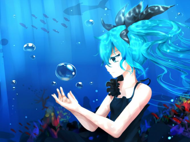 animal aqua eyes aqua hair bai yemeng bubbles deep-sea girl (vocaloid) fish hatsune miku twintails underwater vocaloid water wallpaper