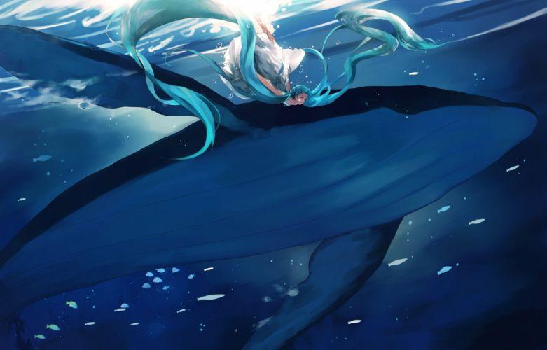 animal aqua hair dress fish hatsune miku long hair twintails underwater vocaloid water yong kit lam wallpaper
