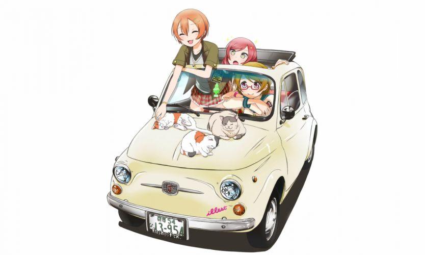 animal car cat glasses hoshizora rin koizumi hanayo love live! school idol project nishikino maki sweeter (h110111) white wallpaper