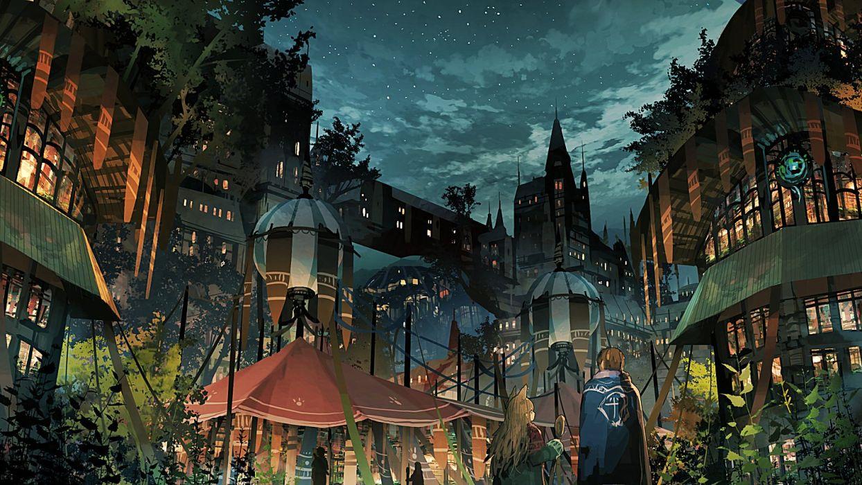 animal ears building catgirl city clouds jumpei99 leaves male night original scenic stars wallpaper