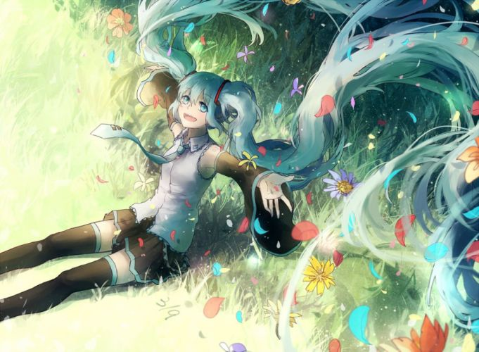 aqua eyes aqua hair domik flowers grass hatsune miku leaves long hair thighhighs twintails vocaloid wallpaper