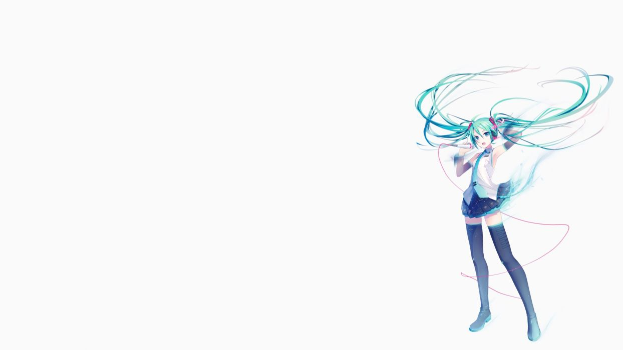 aqua eyes aqua hair hatsune miku hatsune miku (vocaloid3) headphones ikushima long hair thighhighs twintails vocaloid white wallpaper