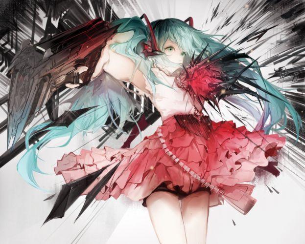 aqua eyes aqua hair gun hatsune miku long hair sa'yuki skirt twintails vocaloid weapon wallpaper