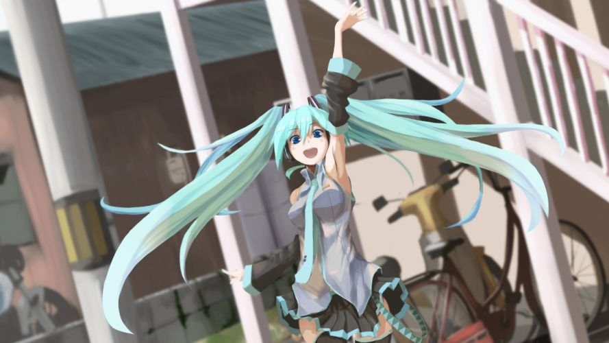 aqua hair bicycle building fushichou hatsune miku long hair motorcycle skirt stairs thighhighs tie twintails vocaloid wallpaper