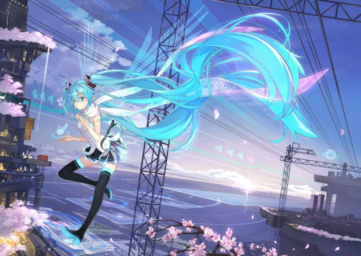 aqua hair beek building cherry blossoms clouds hatsune miku long hair scarf skirt sky thighhighs twintails vocaloid wallpaper