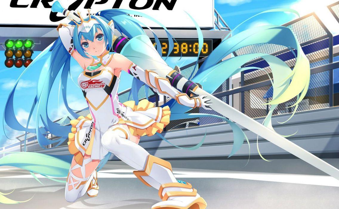 aqua hair boots choker elbow gloves ello-chan hatsune miku long hair skirt thighhighs tiara twintails vocaloid weapon wallpaper