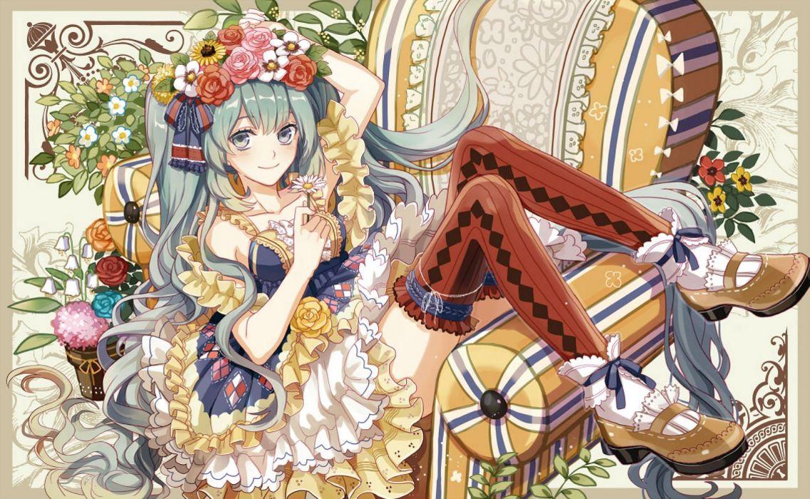 aqua hair dress flowers hatsune miku headdress long hair michi (iawei) ribbons thighhighs twintails vocaloid wallpaper