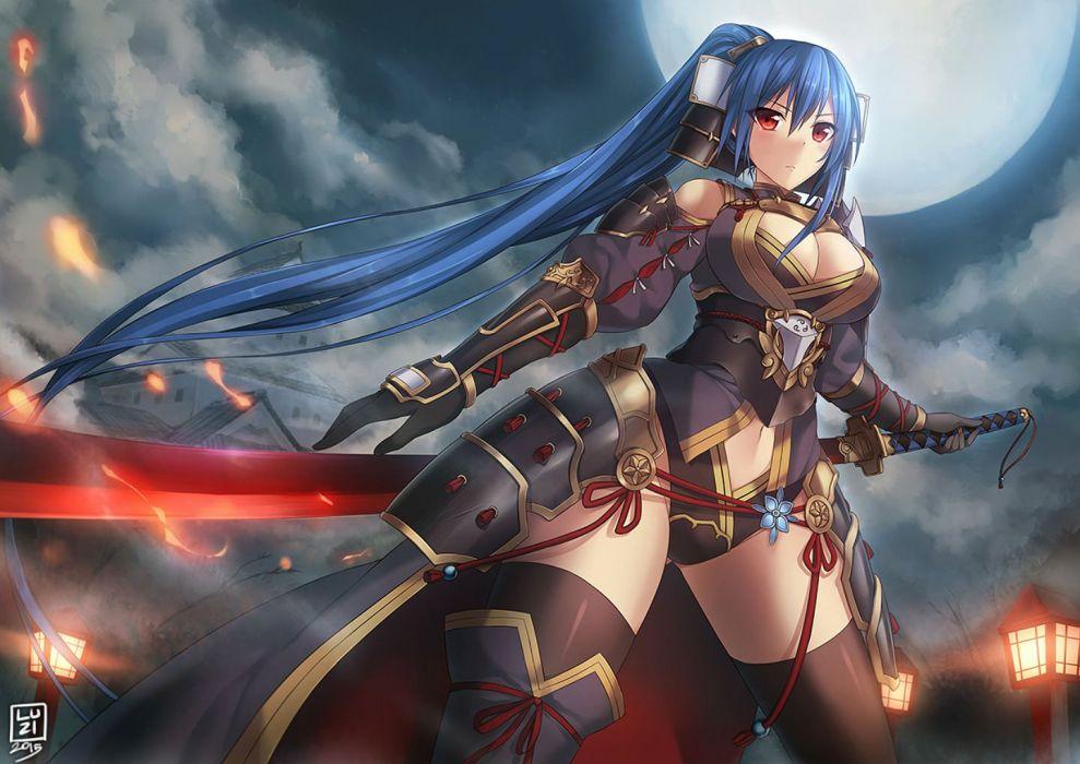 armor blue hair breasts cape cleavage katana long hair luzi moon navel original red eyes sword thighhighs weapon wallpaper