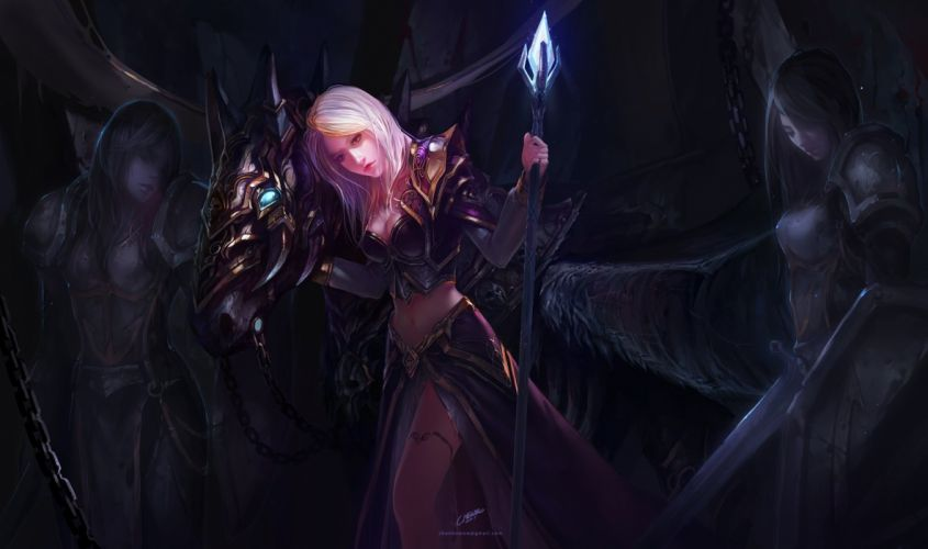 armor breasts chenbo cleavage world of warcraft wallpaper