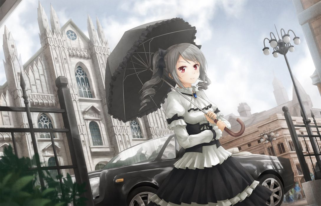 asakurashinji car city dress gothic gray hair idolmaster kanzaki ranko lolita fashion long hair red eyes twintails umbrella wallpaper
