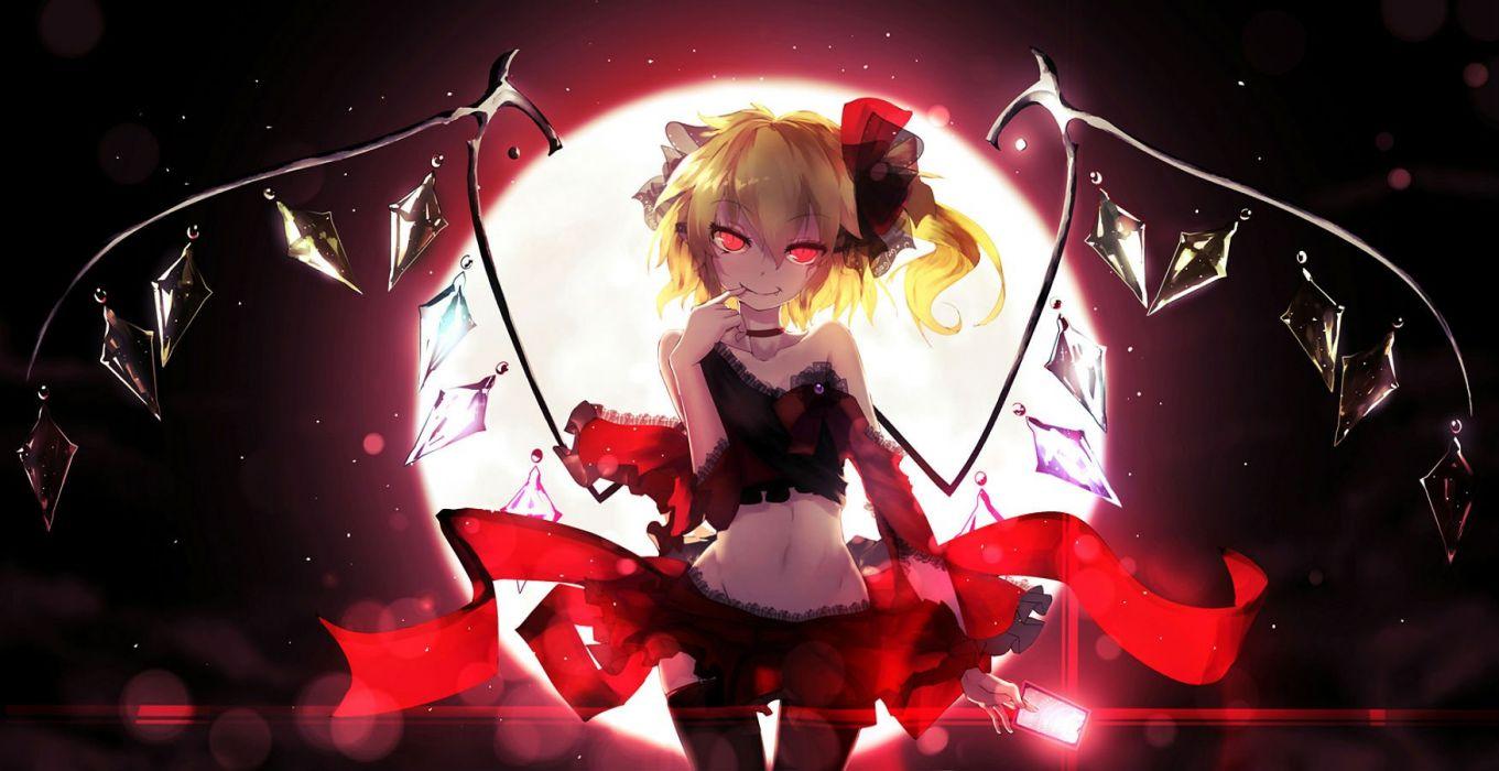 bai yemeng blonde hair choker fang flandre scarlet moon navel ponytail red eyes thighhighs touhou vampire wings wallpaper
