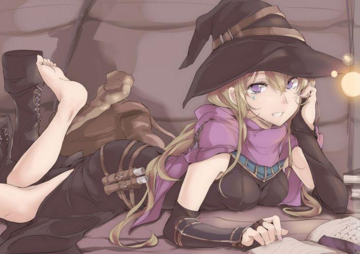 barefoot blonde hair book boots hat long hair original purple eyes touma raito witch hat wallpaper