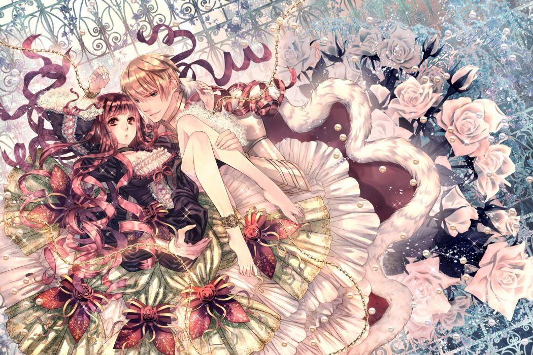 barefoot bow chain choker dress flowers lolita fashion male original rose shackles shijuu hachi wallpaper