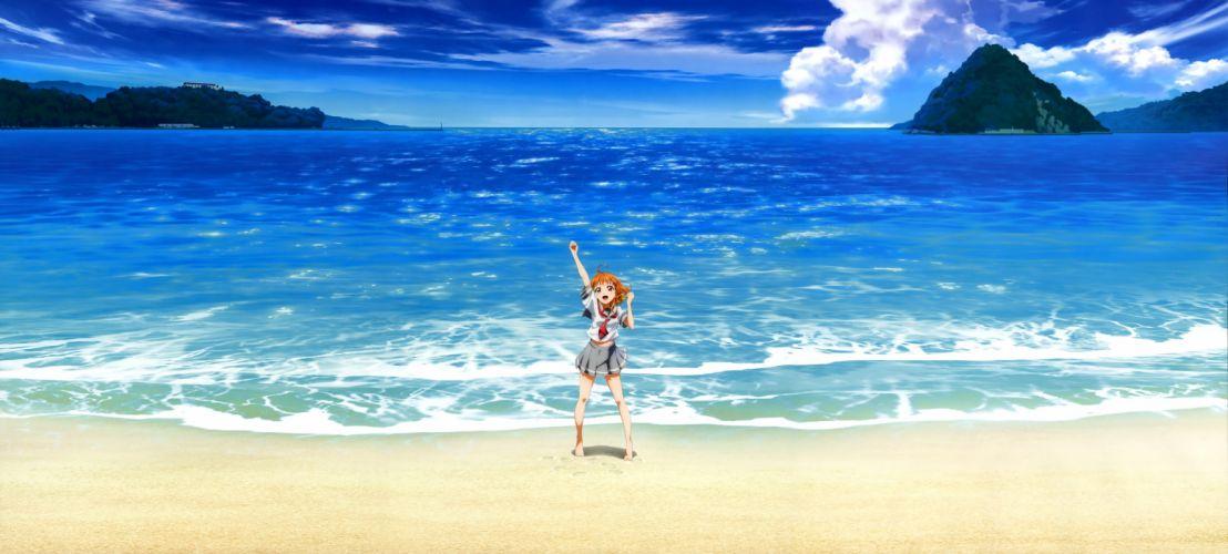 barefoot beach clouds hasekura kasane love live! school idol project navel orange hair red eyes scan scenic seifuku water wallpaper