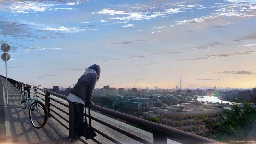 bicycle building city clouds landscape original realistic scenic sky tanaka ryosuke wallpaper