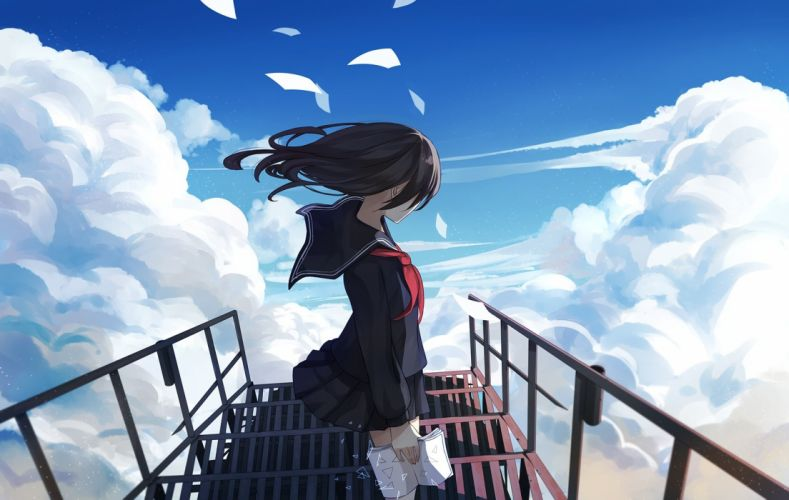 black hair book clouds levi9452 long hair original paper seifuku skirt sky stairs wallpaper