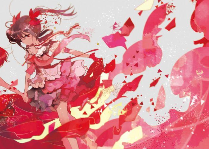 black hair bow gloves love live! school idol project polychromatic red eyes ribbons skirt twintails yazawa nico yukinokoe wallpaper