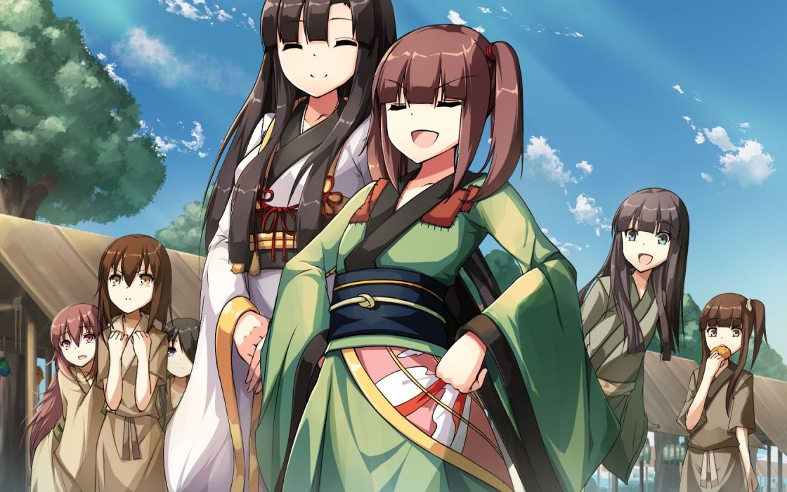 black hair brown hair clouds food group japanese clothes kimono long hair original ponytail riburanomind tree wallpaper