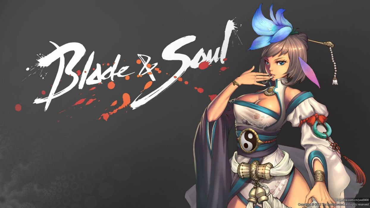 Blade Soul Breasts Brown Hair Cleavage Headdress Jpeg Artifacts