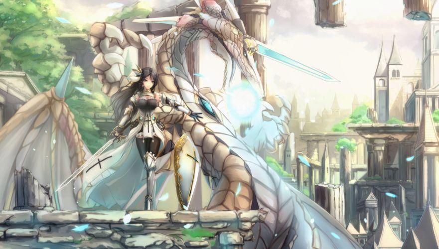 black hair city dragon elbow gloves gloves kikivi long hair original sword thighhighs weapon yellow eyes wallpaper