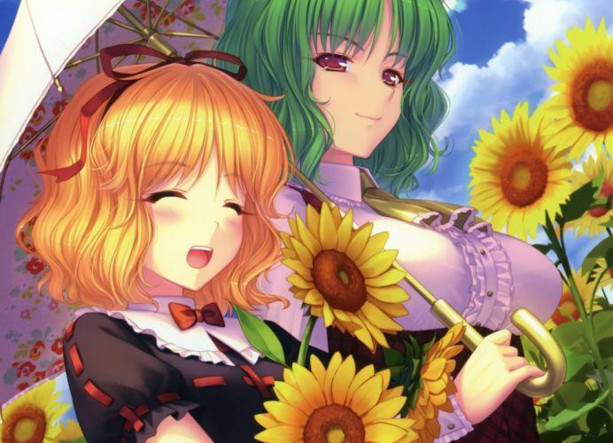 blonde hair bow flowers green hair kazami yuuka medicine melancholy red eyes sayori scan sunflower touhou umbrella wallpaper