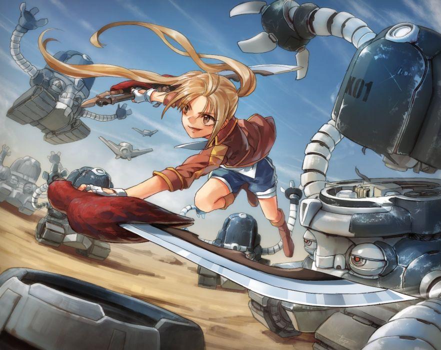 blonde hair boots long hair original robot shorts sword tugo weapon wallpaper