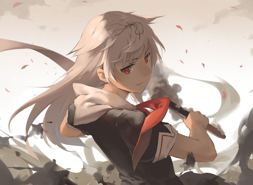blonde hair gensou kuro usagi kantai collection long hair petals red eyes seifuku yuudachi (kancolle) wallpaper
