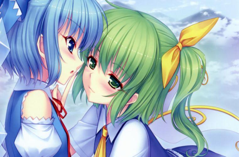 blue eyes blue hair blush bow cirno daiyousei fairy green eyes green hair sayori scan short hair shoujo ai touhou wings wallpaper