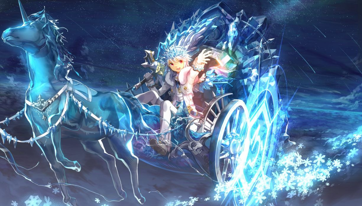 blue elsword magic red eyes scorpion5050 stars tiara unicorn weapon white hair wallpaper